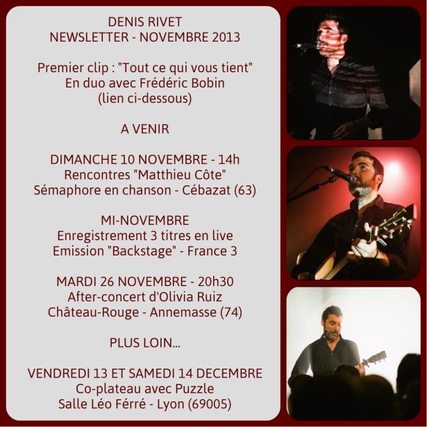 newsletter denis rivet - novembre 2013